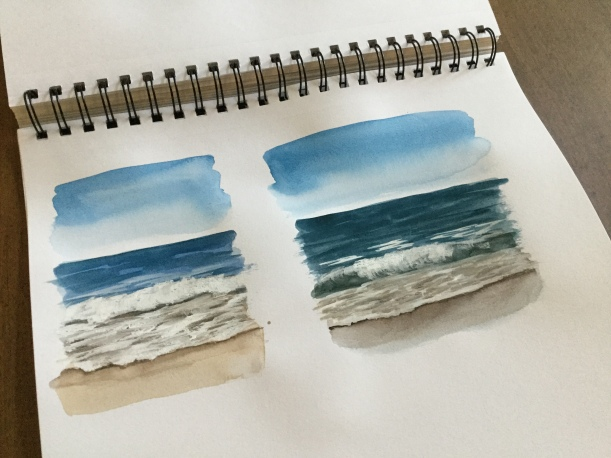 Mini watercolor seascapes