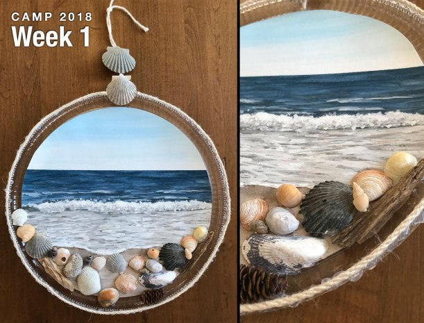 Watercolor seascape seashell wall hanging project