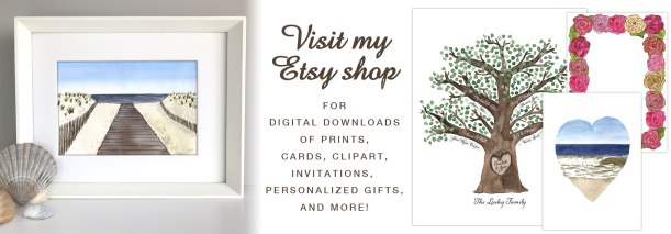 Digital prints, cards, invitations, clipart, personalized gifts in my Etsy shop