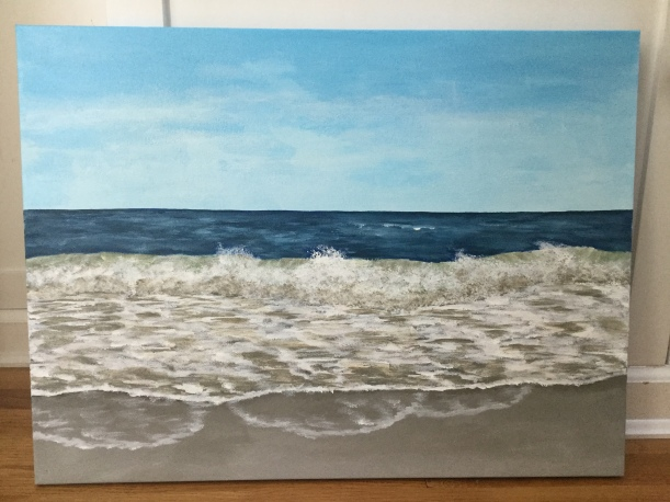 Acrylic seascape by Eileen McKenna   painting waves