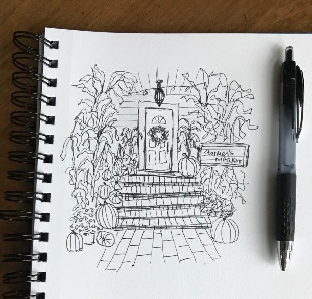 InkTober front porch sketch