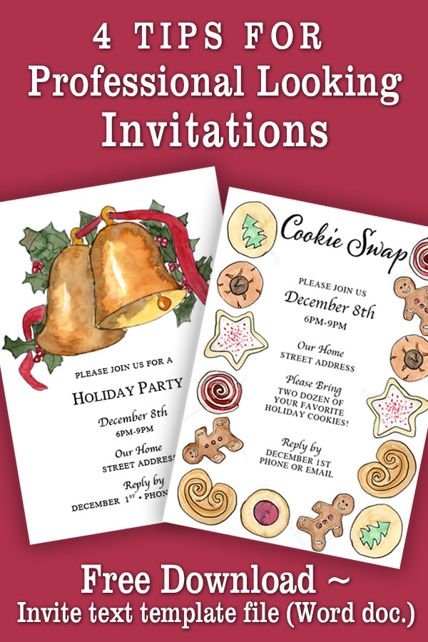 4 tips for professional looking invitations | Christmas holiday invites | Cookie Swap invitation
