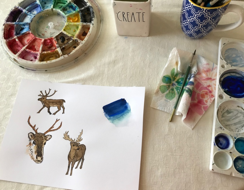 Christmas illustrations | Reindeer art | holiday clip art available for digital download on Etsy
