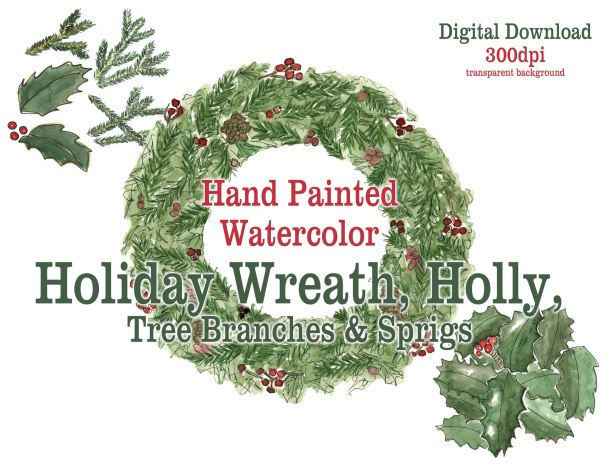 Holiday Art | Christmas watercolor art Digital downloads Etsy