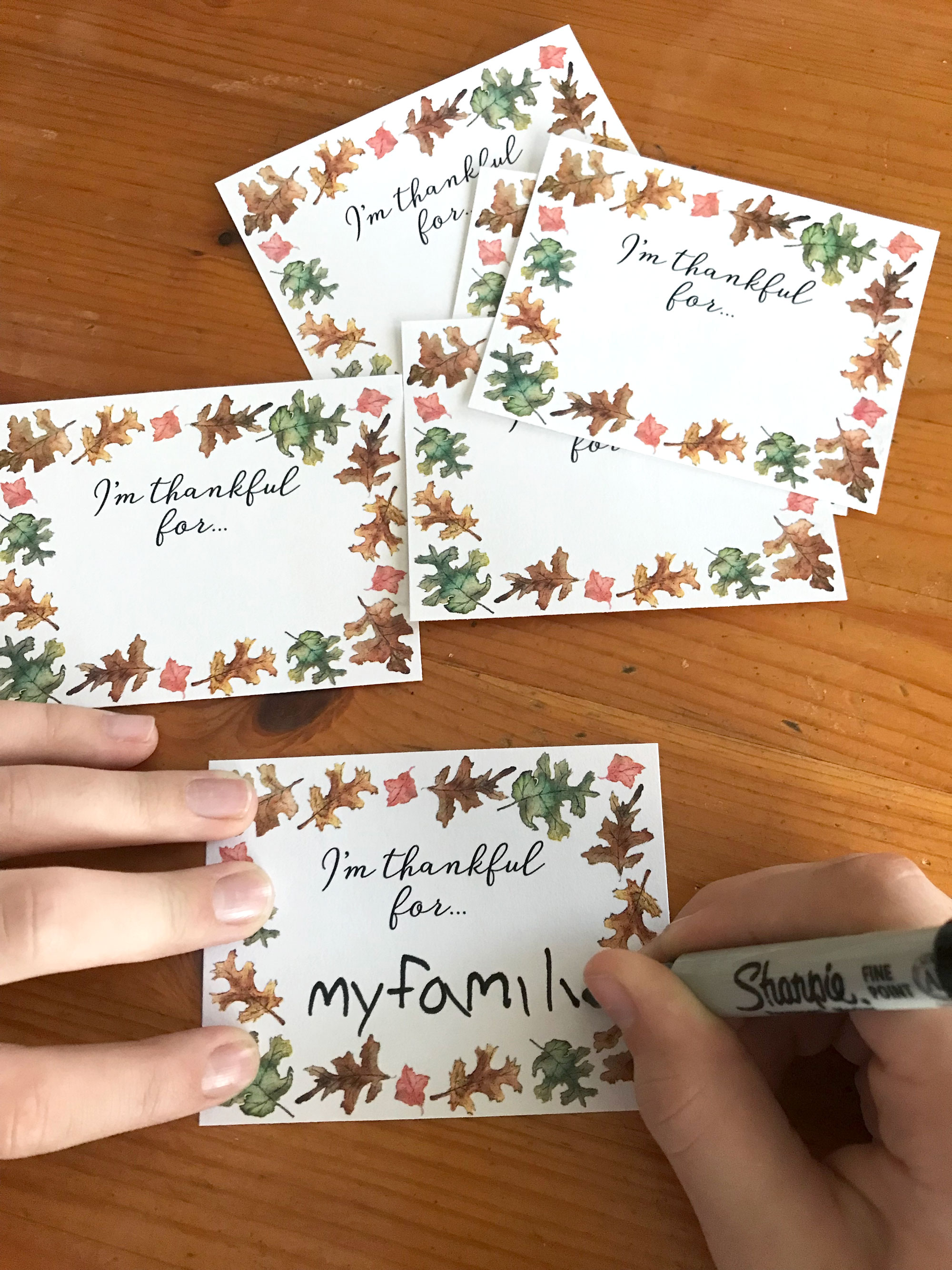 I'm Thankful for Printable Cards for Thanksgiving Day kids activity