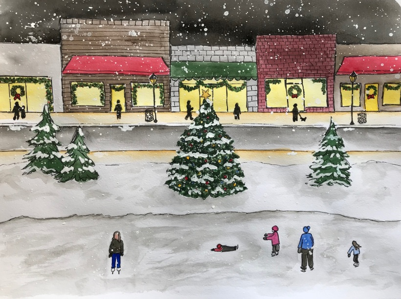 Winter skating scene by Eileen McKenna