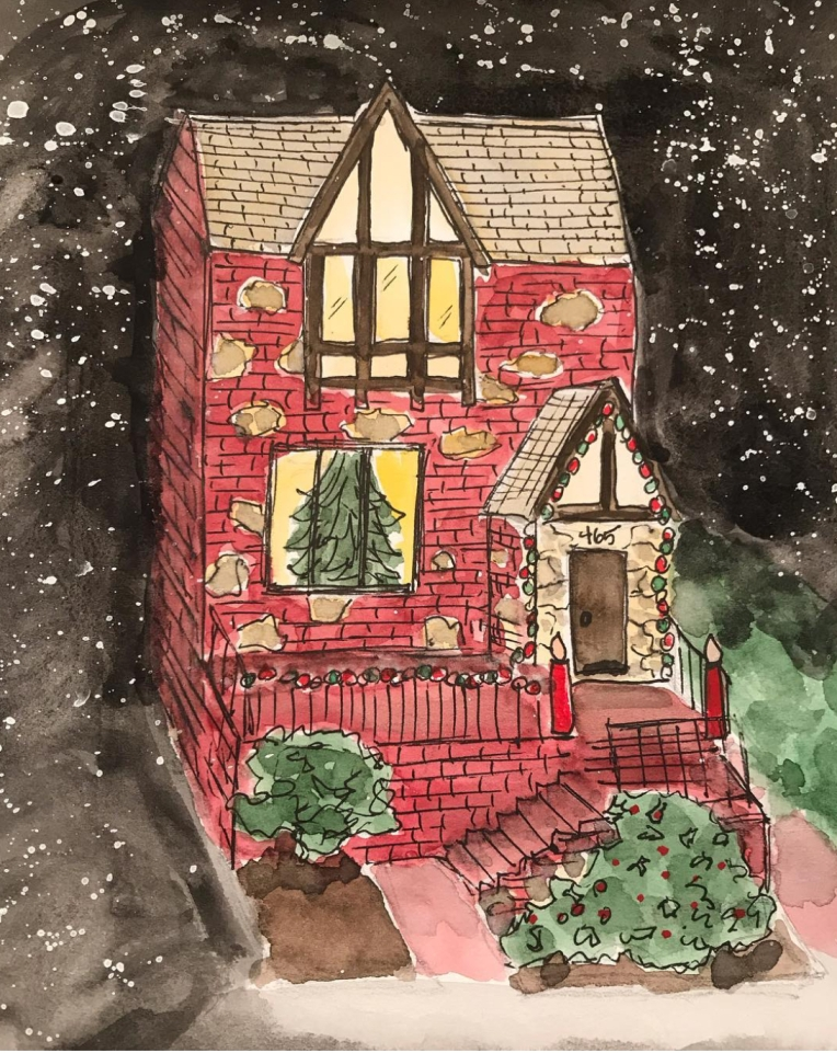 My childhood home at Christmas