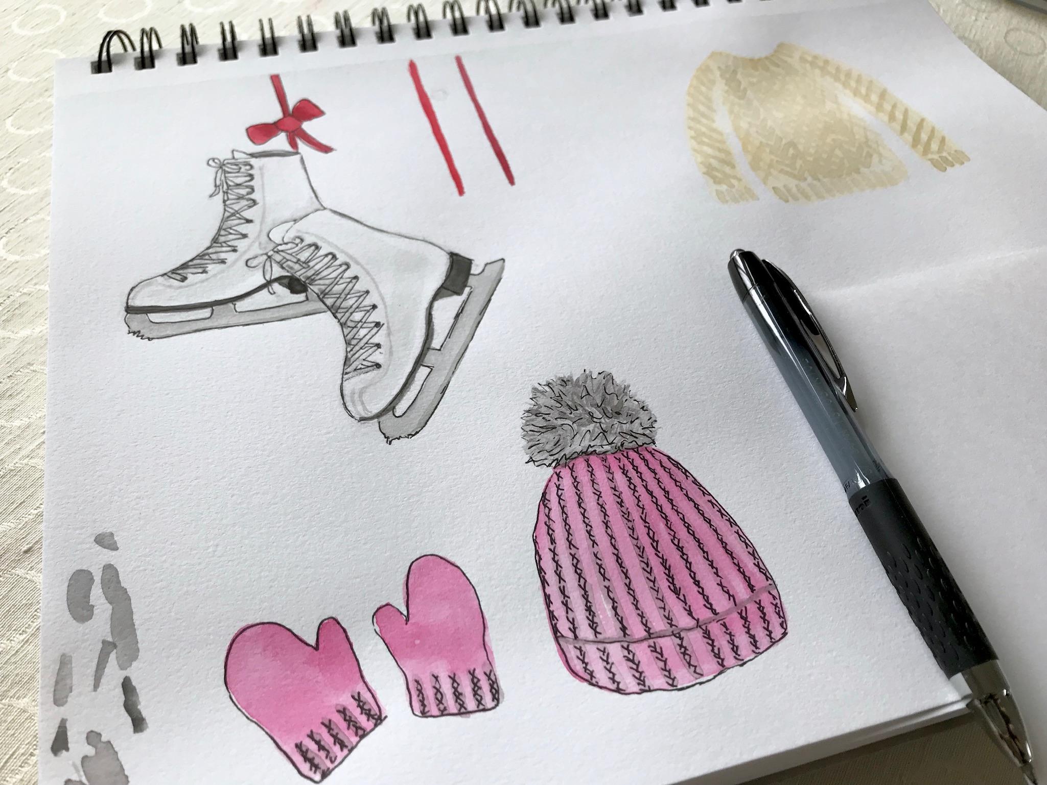 Winter illustrations by Eileen McKenna | ice skates hat mittens