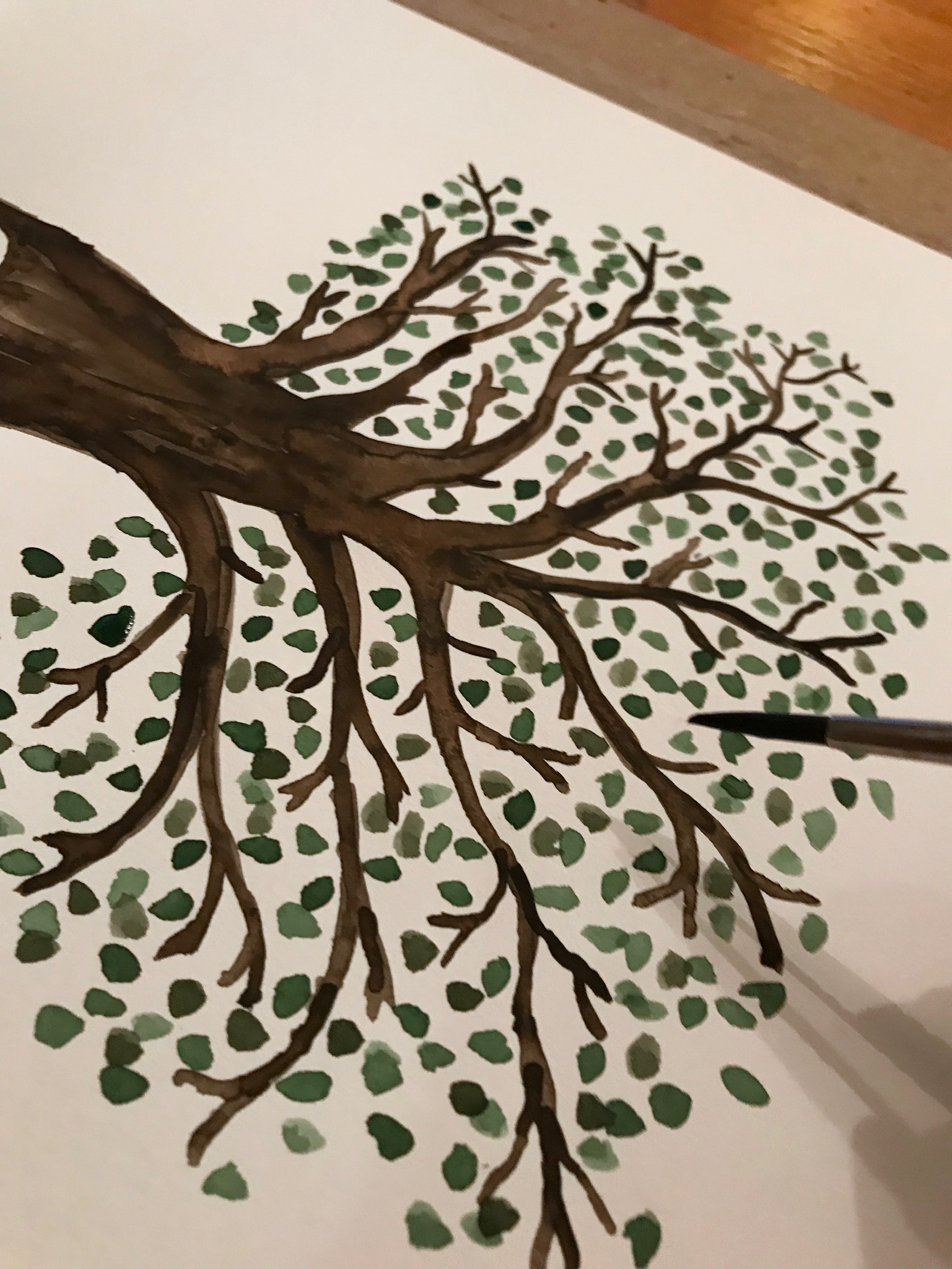Family tree watercolor painting