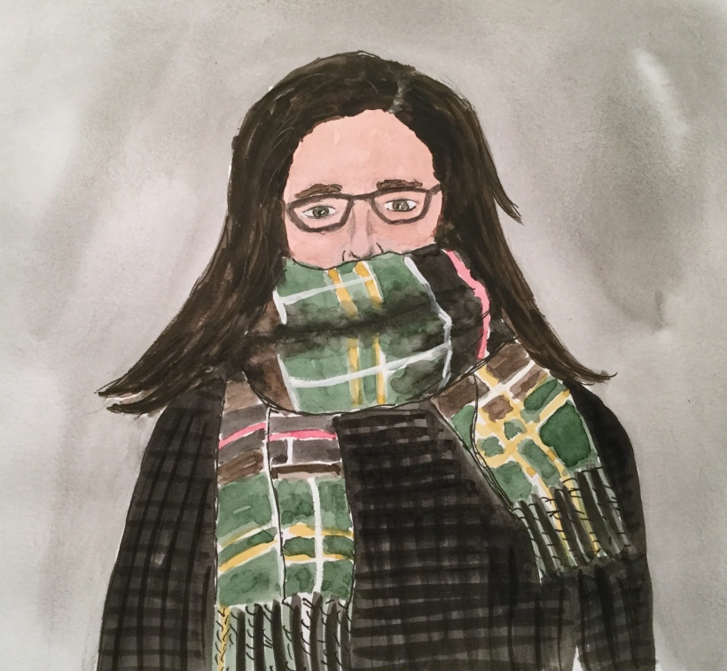 Me freezing, a self portrait by Eileen McKenna
