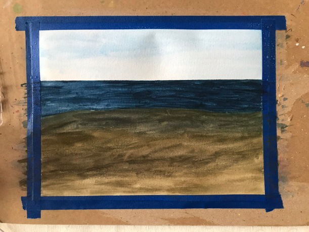 Step one painting the ocean in watercolor