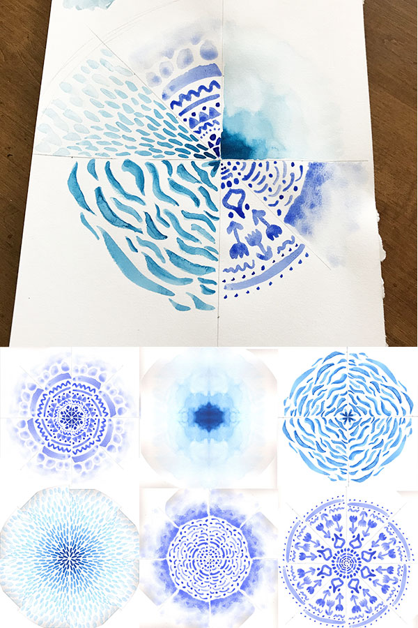 Experimenting with Mandalas - designing mandalas with watercolor paint | fabric print design