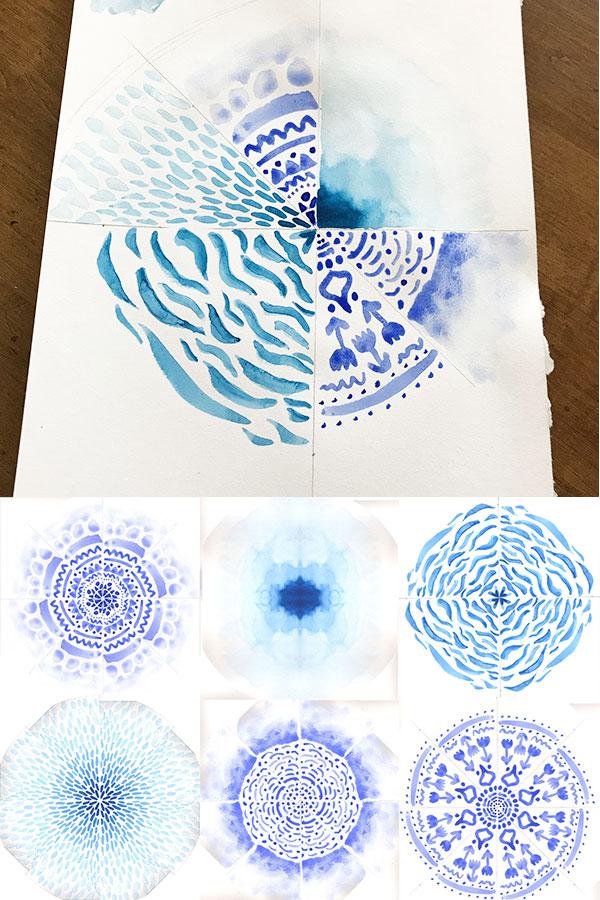 Experimenting with Mandalas - designing mandalas with watercolor paint | fabric print design