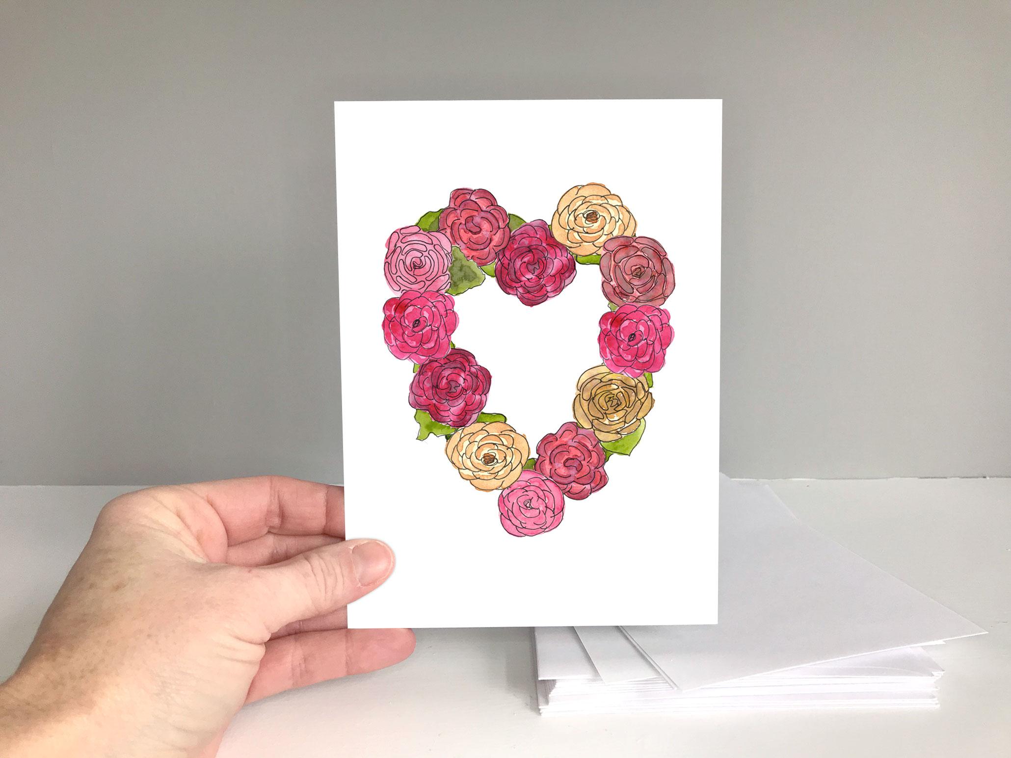 Watercolor Roses Heart Valentine's Day or Anniversary Card Digital Download on Etsy https://www.etsy.com/shop/EileenMcKennaArt