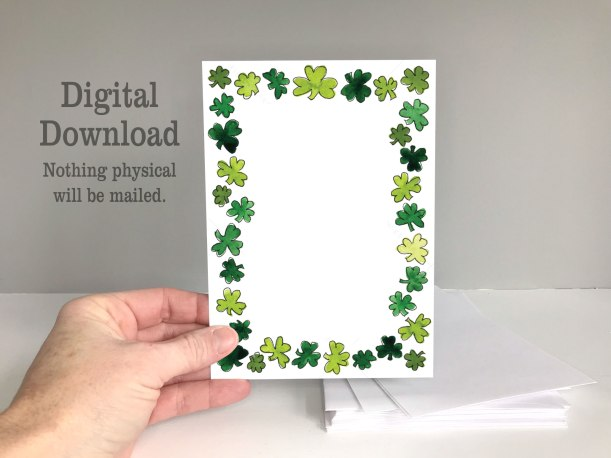 St. Patrick's Day shamrocks invitation border printable invitation card