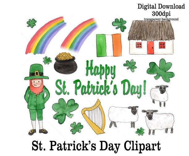 St. Patrick's Day Watercolor clipart | leprechauns pot of gold rainbow shamrocks