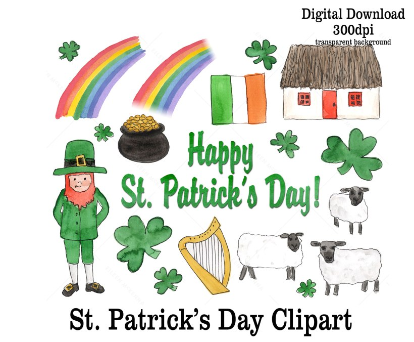 St. Patrick's Day Watercolor clipart | leprechauns pot of gold rainbow shamrocks