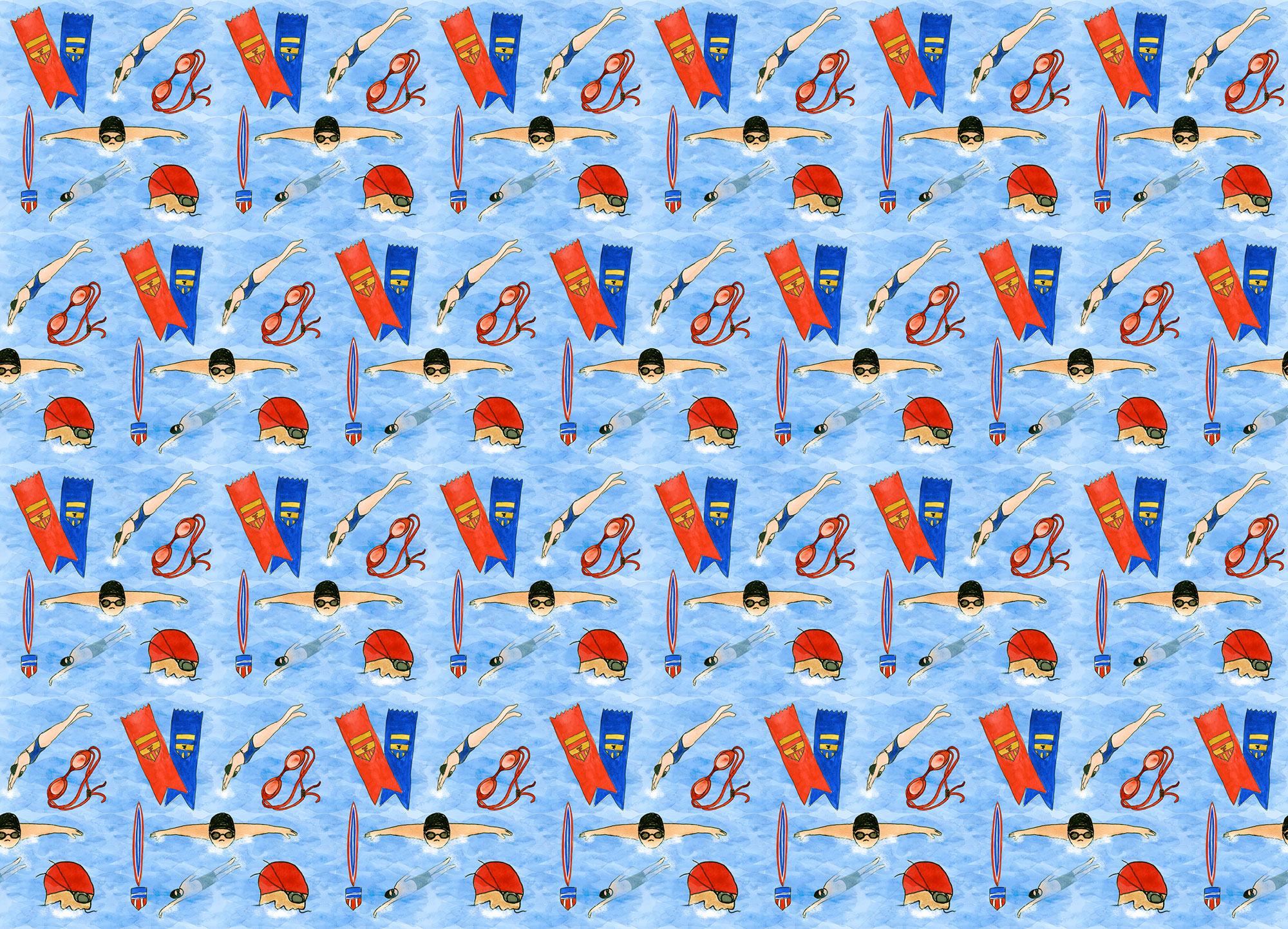 Swim Champs Fabric Print Design by Eileen McKenna
