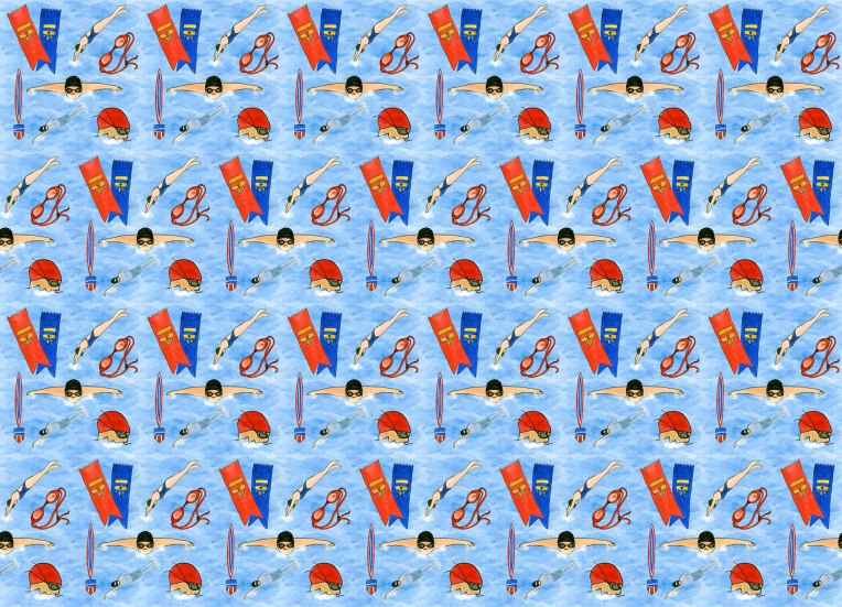 Swim Champs Fabric Print Design by Eileen McKenna