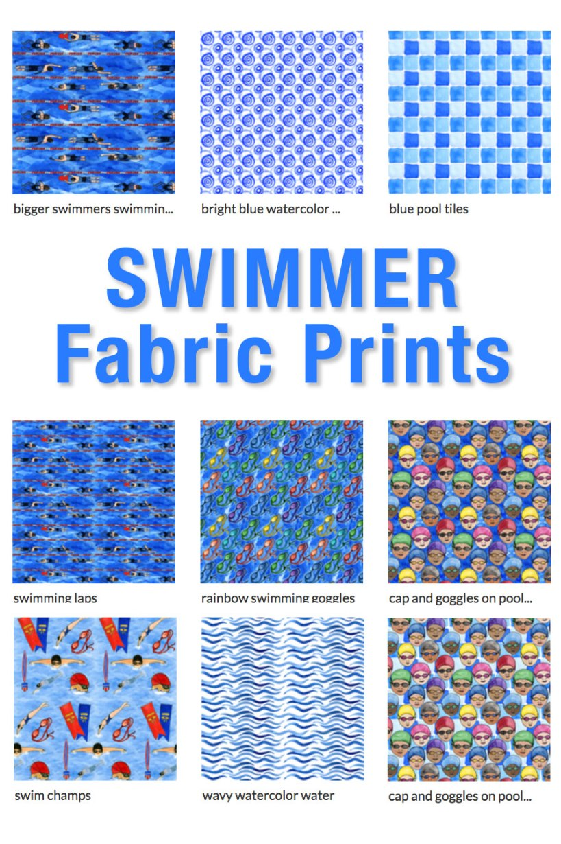 Swimmer Fabric Prints by Eileen McKenna available on Spoonflower | Swim Fabric Designs https://www.spoonflower.com/profiles/eileenmckenna
