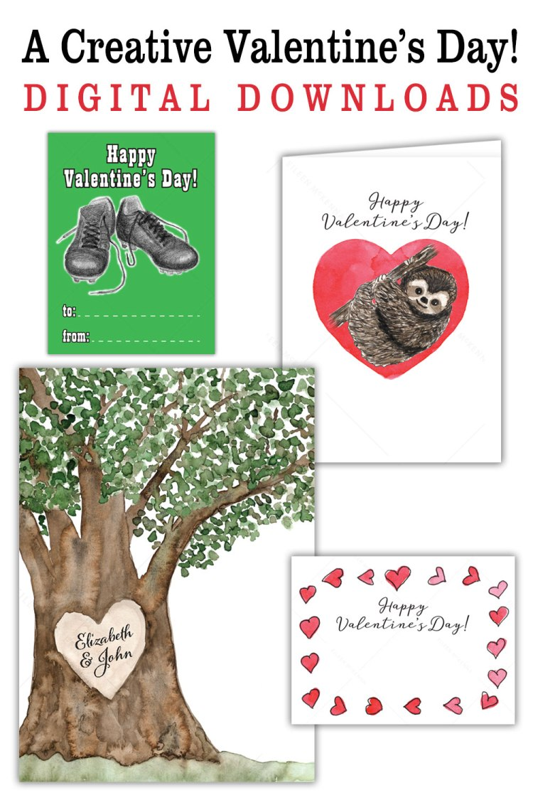 Creative unique Valentine's Day prints cards gift tags | soccer Valentine | tree lover | sloths | cute hearts