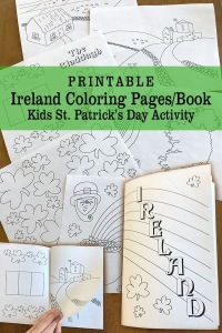 Printable Ireland St. Patrick's Day Coloring Pages make a Coloring Book Kids Class Activity Digital Download is a great way to teach kids about Ireland. Color and fold to create a book! Perfect for St. Patrick's Day.