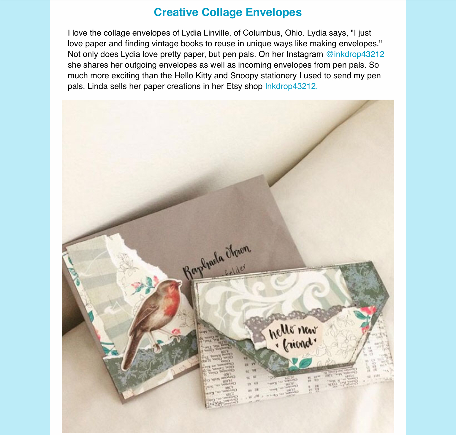 My Creative Collection by Eileen McKenna - a newsletter filled with creative inspiration