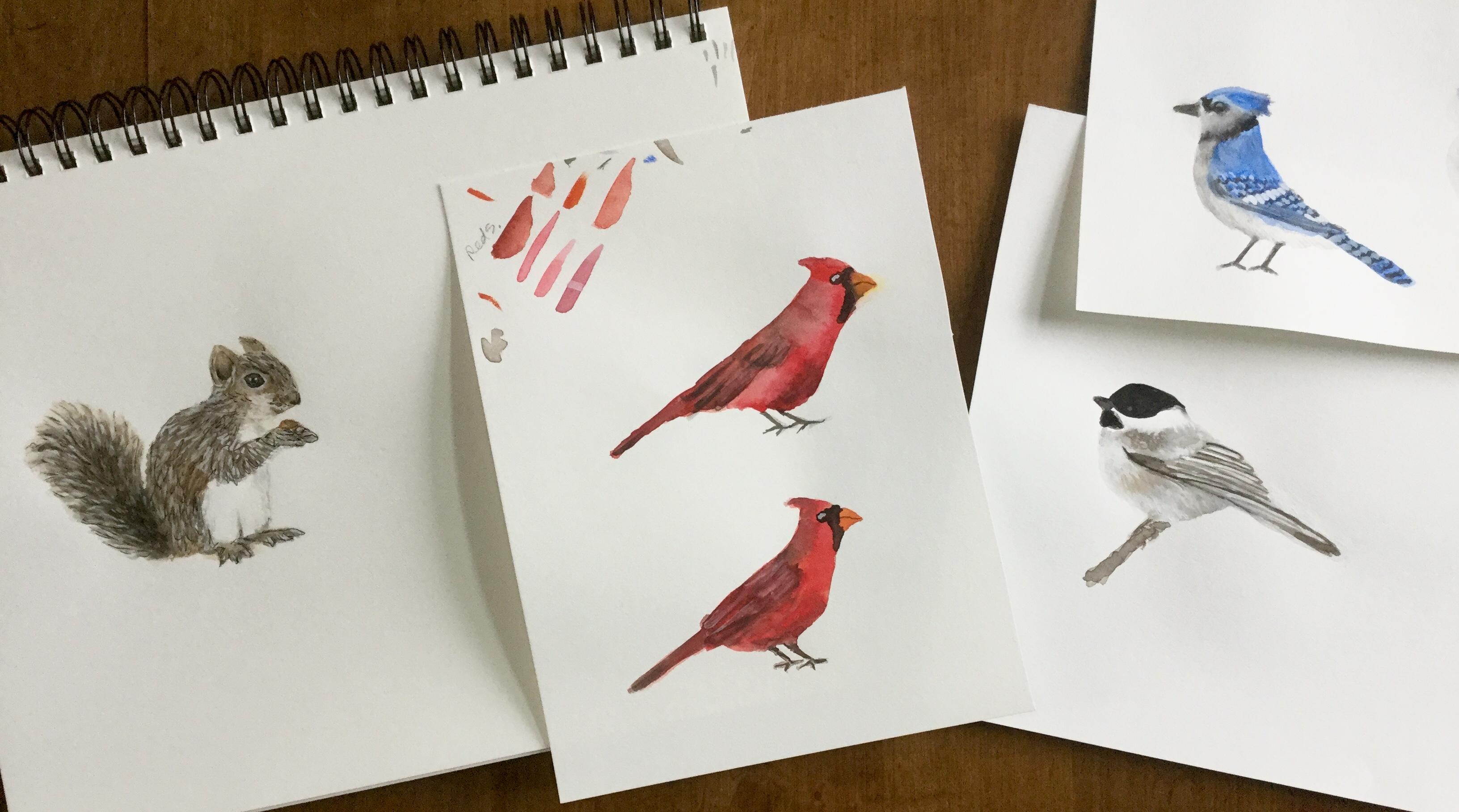Inspiration at the bird feeder by Eileen McKenna