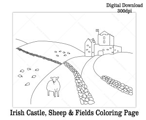 Printable Ireland castle sheep fields coloring sheet for St. Patrick's Day