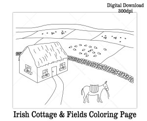 Printable Ireland thatch cottage fields coloring sheet for St. Patrick's Day