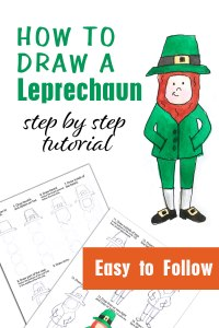 how to draw a leprechaun printable tutorial