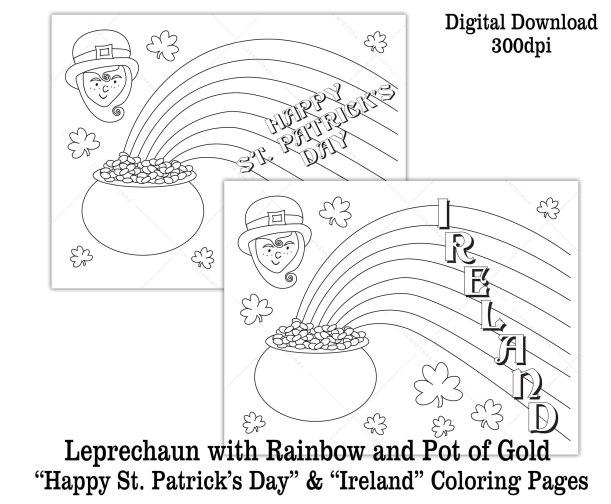 printable leprechaun pot of gold rainbow coloring sheet kids activity St. Patrick's Day