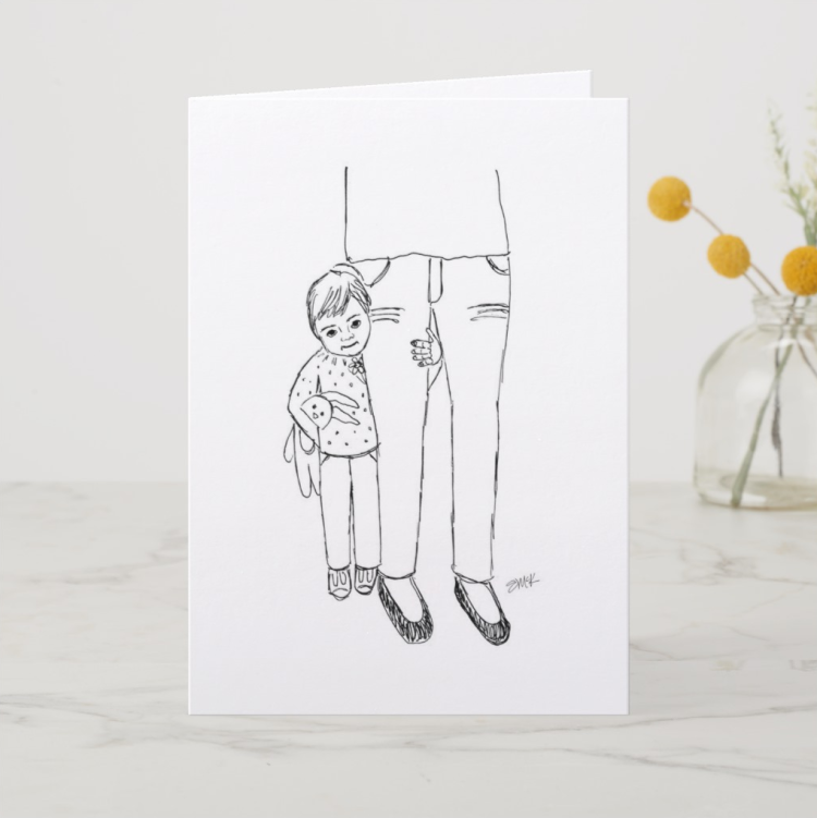 Special Mother's Day card of a little girl hugging her mom's legs | unique Mother's Day card