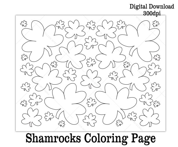 printable shamrocks coloring sheet kids activity St. Patrick's Day