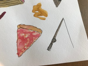 Pizza fishing illustrations
