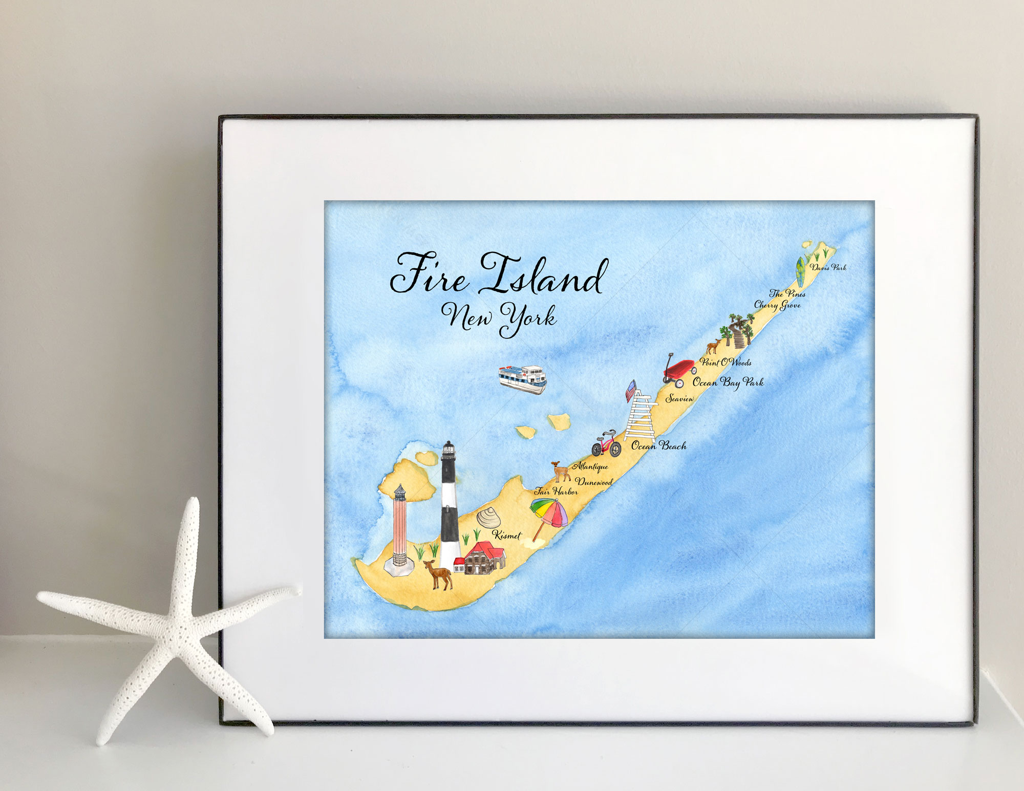 Illustrated Fire Island map | Day 25 #the100dayproject