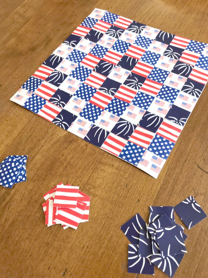 Patriotic Paper Quilt craft activity for kids and adults for Memorial Day July 4th Labor Day