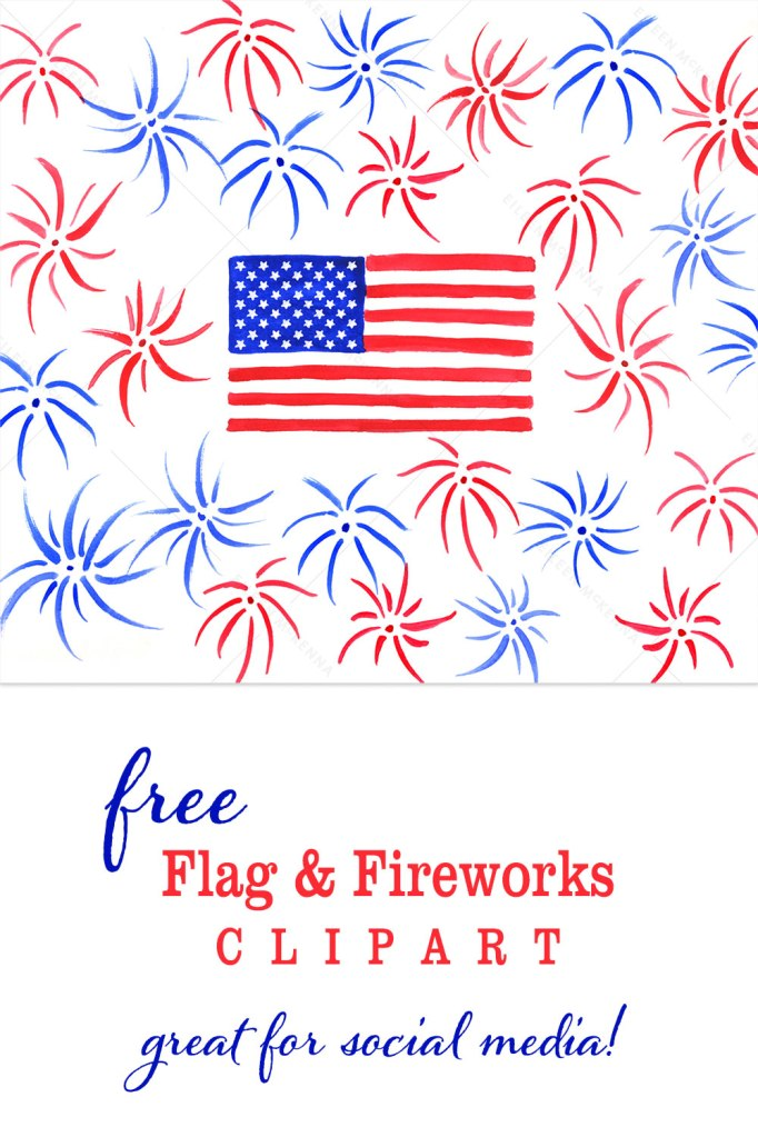 Free Watercolor USA Flag & Fireworks clipart for scrapbooking blog and social media