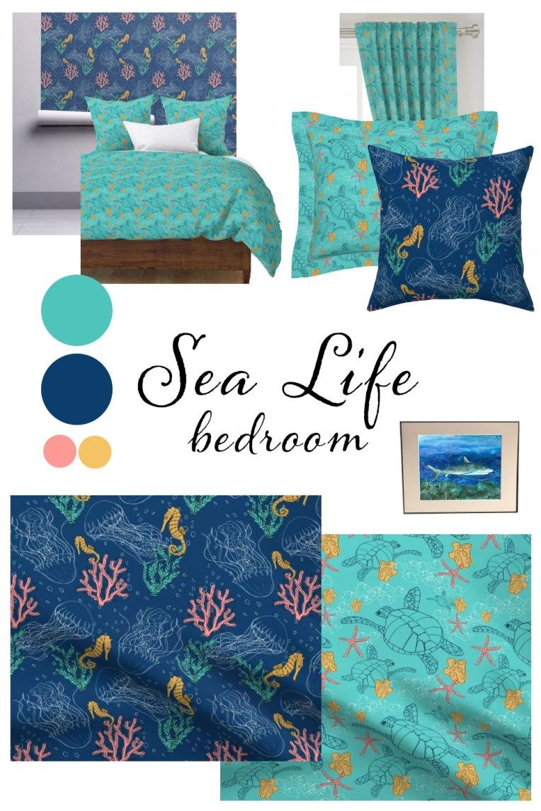 Sea Life Bedroom | Kid Ocean Bedroom ideas fabrics color palette