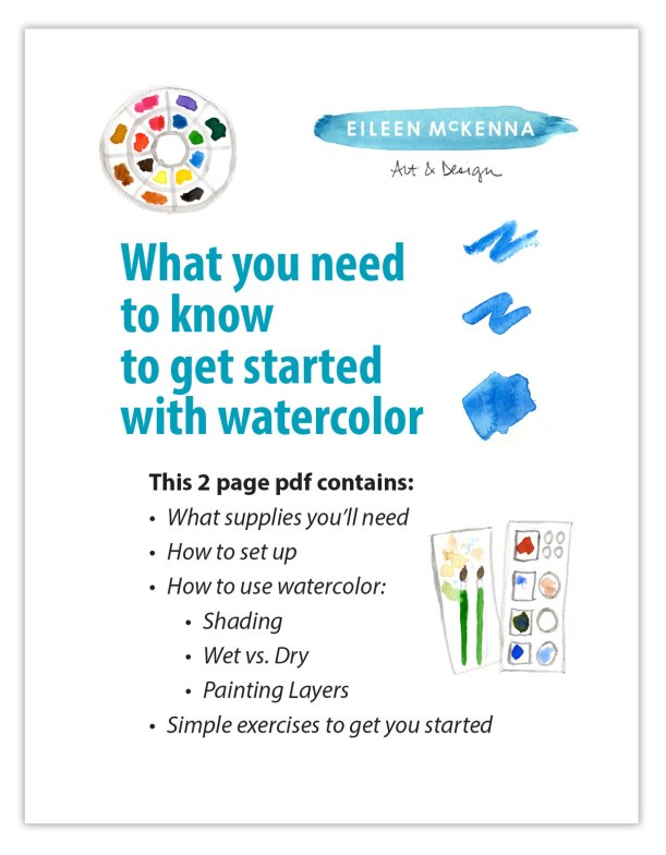"Beginner Watercolor Painting Instructional PDF ""What you need to know to get started with Watercolor"" Beginner Printable Introduction"