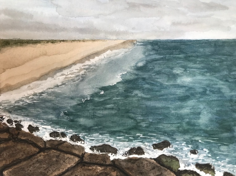 Jones Beach jetty painting by Eileen McKenna