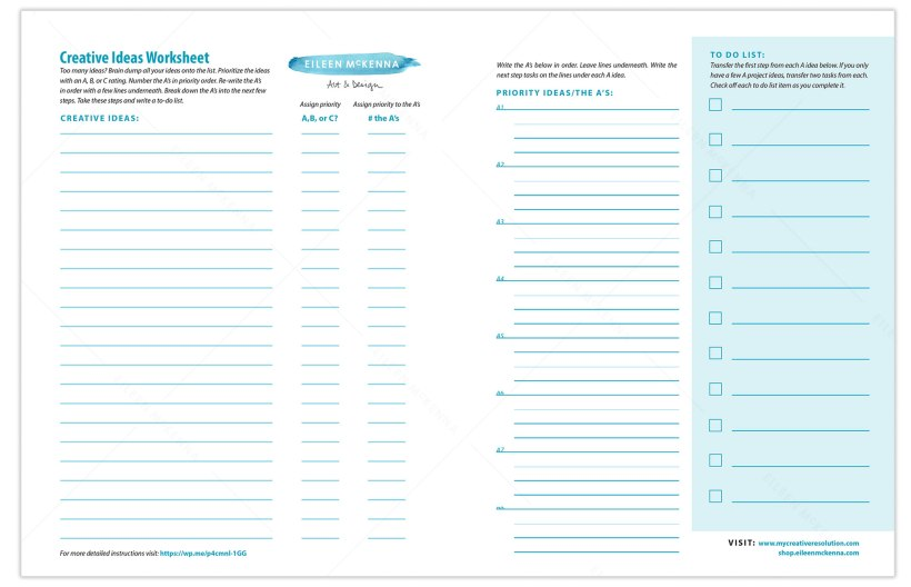 Creative Ideas Planning Worksheet pdf for when you have too many creative project ideas