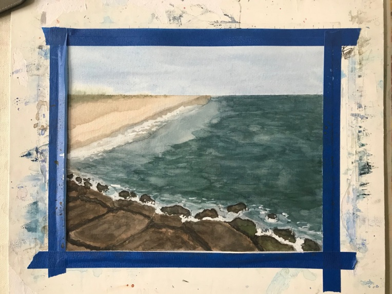 Jones Beach jetty painting in progress by Eileen McKenna