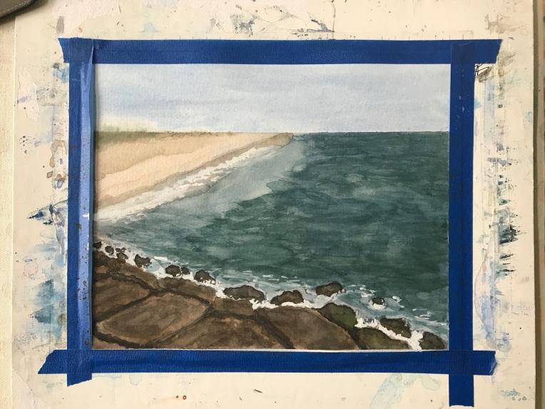 Jones Beach jetty painting in progress by Eileen McKenna