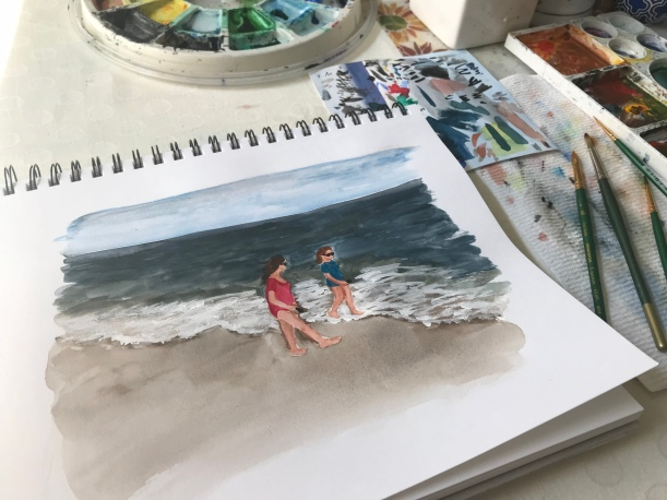 Watercolor sketch figures walking along the shore by Eileen McKenna