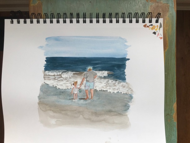 Grandpa and little girl holding hands by the ocean watercolor painting