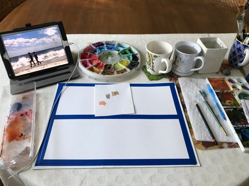Creative excitement the start of a new watercolor painting | watercolor for beginners