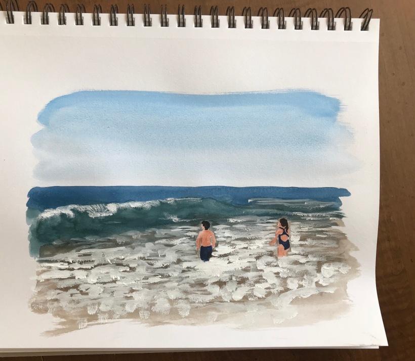 Ocean lifeguards going for a dip Watercolor Sketch