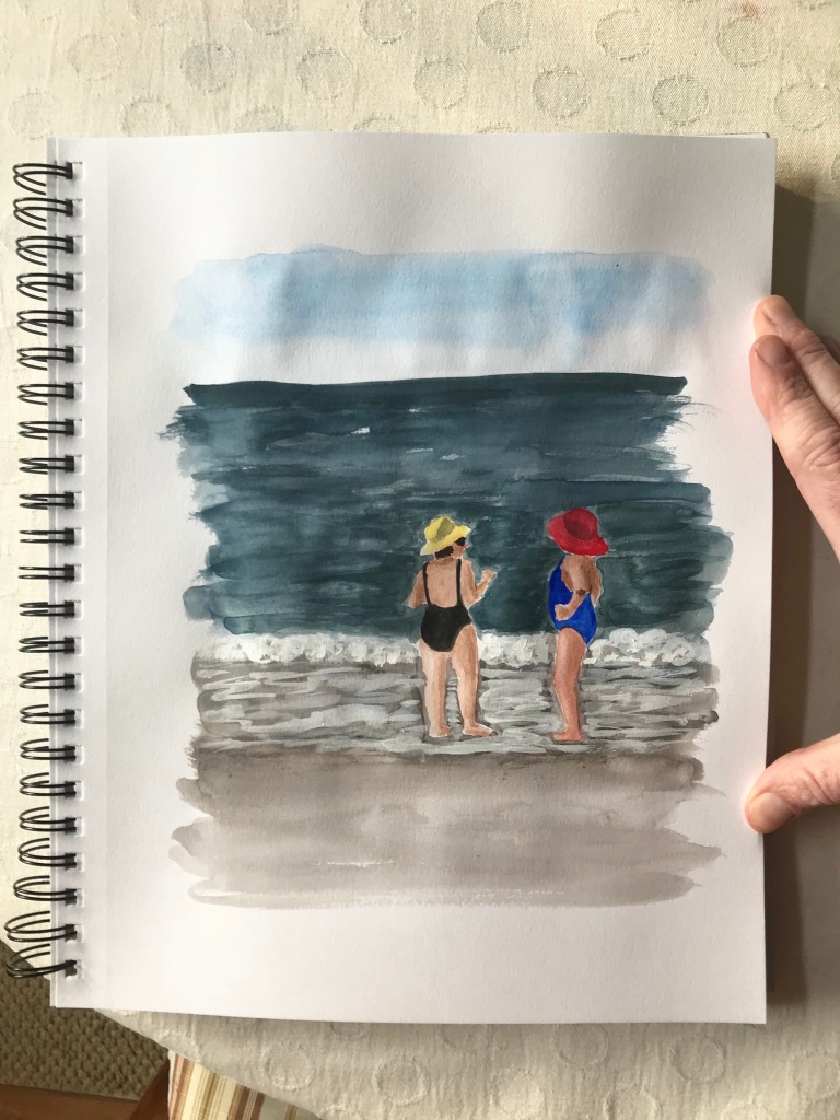 Watercolor sketch figures by the shore by Eileen McKenna