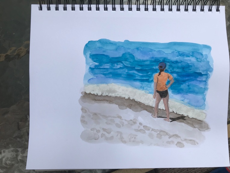 Watercolor sketch figure walking along the shore by Eileen McKenna